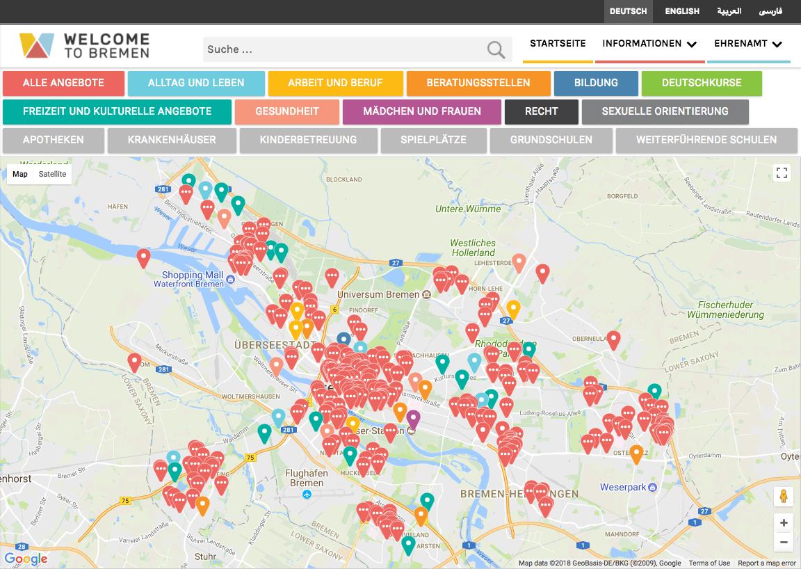 Refugee Map Bremen auf welcometobremen.de